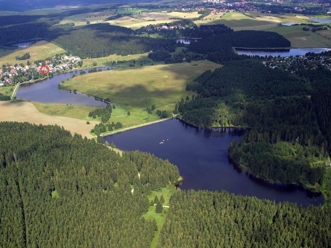 Luftaufnahme Teiche um Buntenbock im Harz